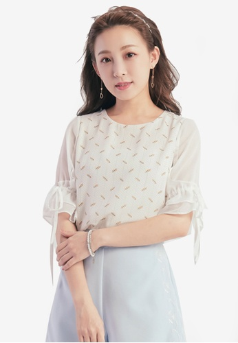 Yoco white Printed Blouse with Ribbon Sleeve CFCF1AA64E7630GS_1