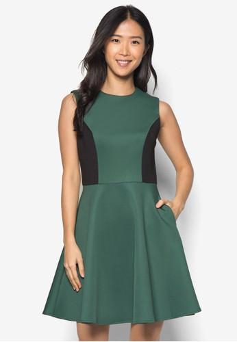 色塊傘擺洋zalora 衣服尺寸裝, 服飾, 正式洋裝