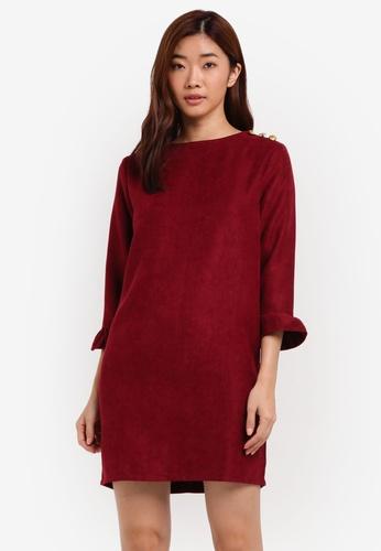 ZALORA red Cordroy Button Shoulder Dress EC762AA032989FGS_1