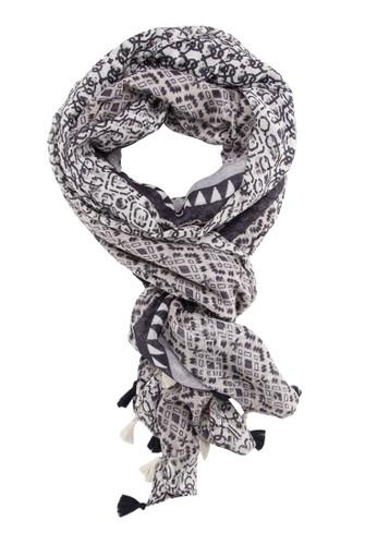 流蘇飾圖樣印花圍巾, 飾品配尖沙咀 esprit件, 披肩