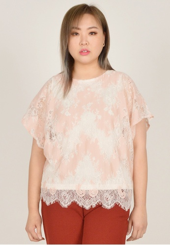 Cheetah pink Arissa Plus Size Short Sleeve Lace Blouse - ARS-13570 FA978AAC705900GS_1