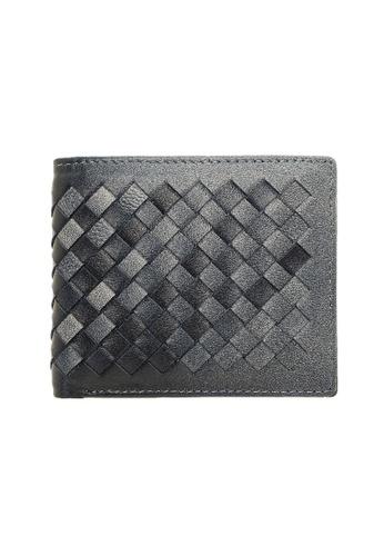 Jack Studio grey Jack Studio Intrecciato Weave Leather Stylish Fashion Bifold Wallet 151D6AC936E82FGS_1