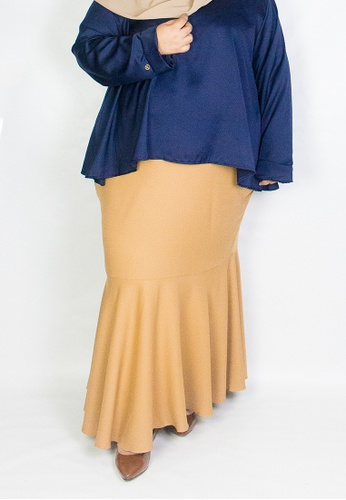 Zaryluq brown and beige Curve Fishtale Skirt in Spicy Chai ED930AA9F15F21GS_1