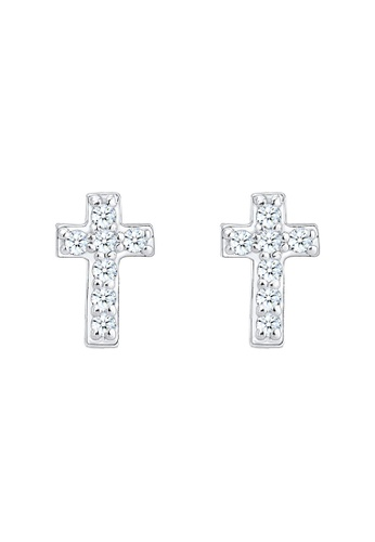 ELLI GERMANY silver Elli Germany Earrings Cross Religion Diamond (0.14 Ct.) 925 Sterling Silver 8D194ACB43A6CFGS_1