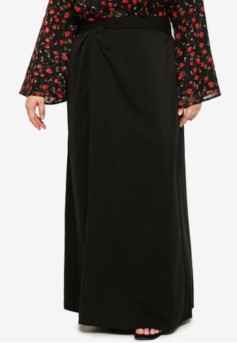 Lubna black Plus Size Front Twist Skirt B1705AA6D5DF33GS_1