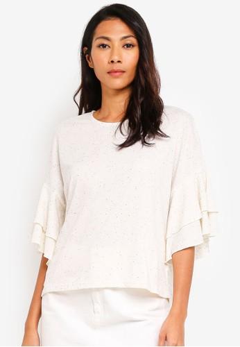 UniqTee white Ruffle Sleeve Top C2A56AA872F43FGS_1