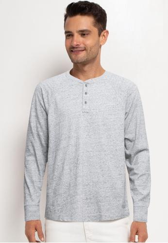 GAP grey Marl Henley T-Shirt E191BAAE17F213GS_1