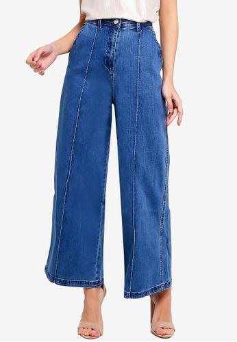 ZALORA blue Wide Legged Culottes B44CCAA9743CC8GS_1