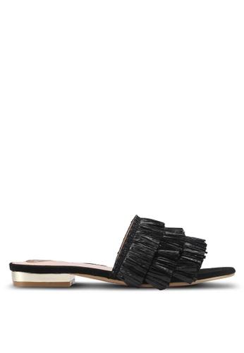 Velvet black Fringe Sandals B09D6SHC0BCFB7GS_1