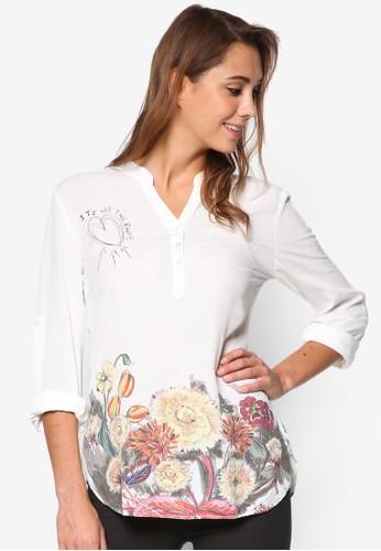 Mery 印esprit retail花下擺七分袖上衣, 服飾, 上衣