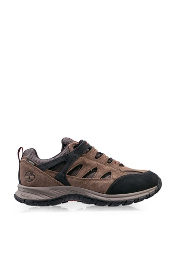 Timberland brown Sadler Pass Leather and Fabric Low Hiker Boots E2A69SH68BFB0DGS_1