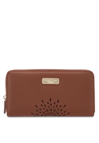 Unisa brown Unique Perforated Facile Zip-Up Wallet UN821AC69EJUMY_1