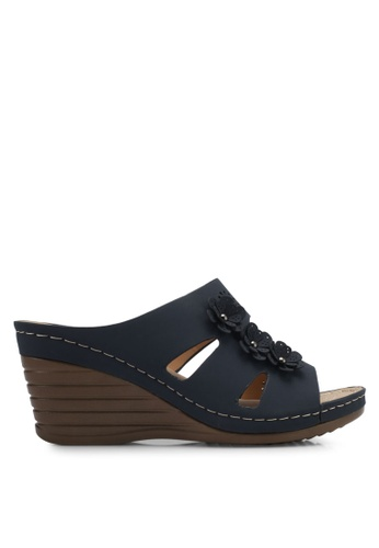 Spiffy navy Perforated Wedges with Floral Detail SP352SH0SRXWMY_1