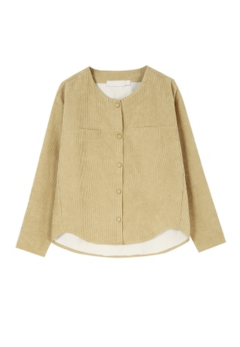 Its Me beige Solid Color Round Neck Corduroy Shirt 0248AAA50B6C56GS_1