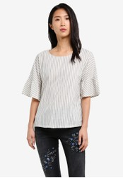 Esprit white Woven Short Sleeve Blouse ES374AA0SAYCMY_1