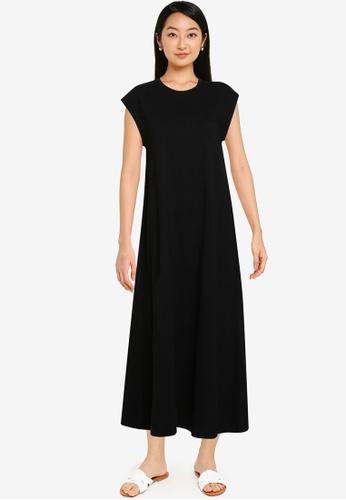GAP black Short Sleeve Maxi Dress A728BAAB167882GS_1