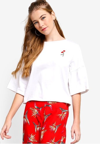 Something Borrowed white Flare Sleeves Embroidery Top FD8A0AAD8457AAGS_1