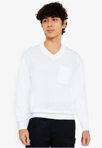 ZALORA BASICS white V-Neck Patch Pocket Knitwear 145AAAAB37899FGS_1