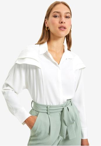 Trendyol white Ecru Shirt 9347FAA15B43EEGS_1