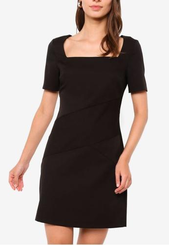 ZALORA WORK black Square Neck Sheath Dress 8ED96AAA503B6BGS_1