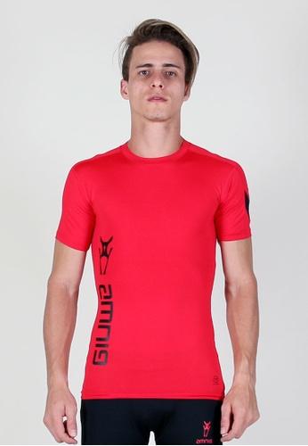 AMNIG red Amnig Men Maxforce Victory Compression Short Sleeve Top (Red) AM133SE81XMWMY_1