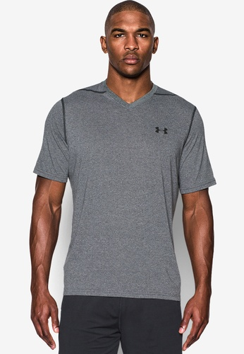Under Armour black UA Threadborne V-Neck T-Shirt UN337AA0SU2SMY_1