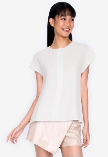 ZALORA BASICS 白色 Cap Sleeves Casual Blouse 1DC22AA2FA1340GS_1