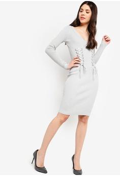 d4262de13de 30% OFF Guess Glitz Lace-Up Slim-Fit Sweater Dress RM 599.00 NOW RM 418.90  Sizes S M