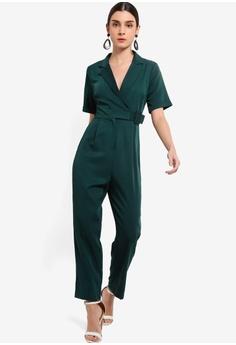 467175e61a ZALORA green Tie Details Jumpsuit 08C35AA2DEC512GS 1