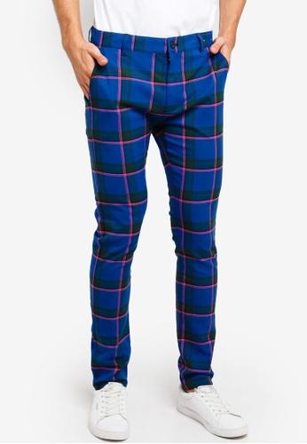 72782ef4a40d Buy Topman Blue Check Stretch Skinny Trousers Online on ZALORA Singapore