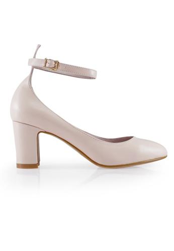 Gripz pink and beige Apirka MaryJane Block Heels GR357SH72BHJSG_1