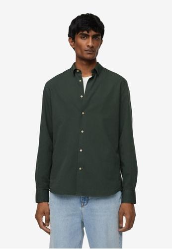 MANGO Man green Slim Fit Cotton Shirt 815A9AA2264BBFGS_1