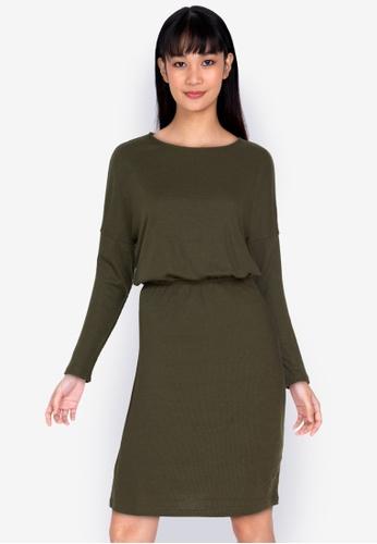ZALORA BASICS green Boat Neck Jersey Dress 18BE5AA446240AGS_1