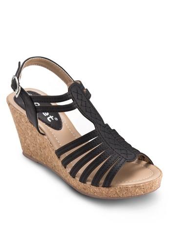多帶繞踝楔形涼鞋, 女鞋, 楔形esprit門市涼鞋