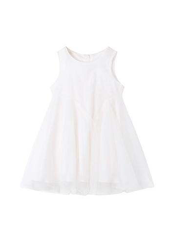 M.Latin white Sleeveless Round Neck Dress with Mesh D070BKAB34768DGS_1