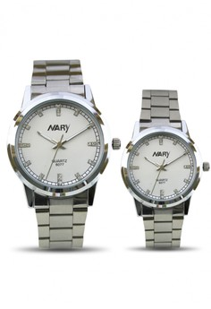 NARY Couple Stainless Quartz Wrist Watch - 6077