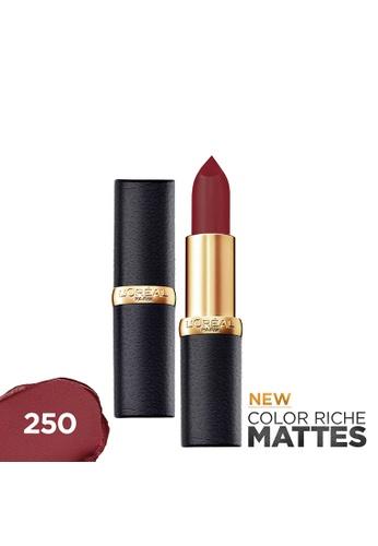 L'Oréal Paris red Color Riche Mattes 250 Rich Merlot Matte Lipstick 6E0CCBE44EE3EDGS_1