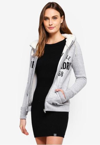 Superdry grey Applique Zip Hoodie D783FAA215AC28GS_1