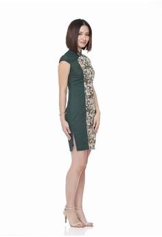 95b9a3950 Mandarin Peony Cheongsam multi Mandarin Peony FOREST CENDRAWASIH Cheongsam  Batik Dress FFF45AA5546718GS_1