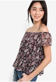 【ZALORA】 Love 印花平口露肩短袖上衣