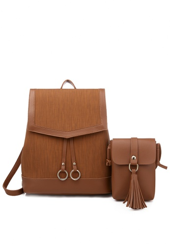Twenty Eight Shoes brown Faux Leather Fashionable Backpack 865 3BF33AC835407EGS_1