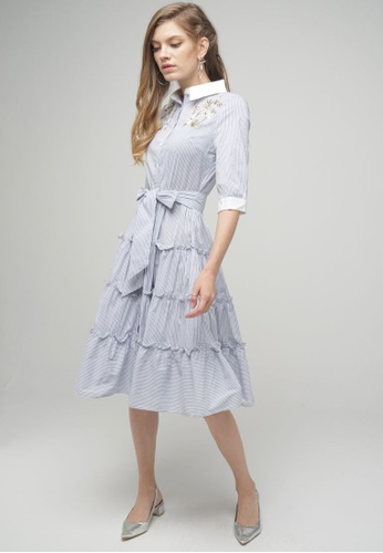 Megane blue Red Romance Andree Dress in Stripes B68D2AAB6220EDGS_1