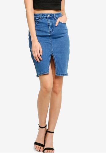 ZALORA BASICS blue Front Slit Denim Skirt 02EDCAADA3CA2BGS_1