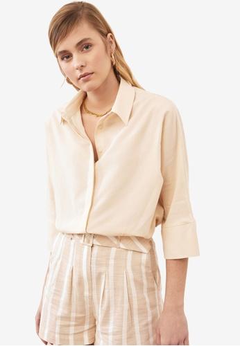 Trendyol beige Basic Loose Fit Mom Shirt B9221AA1917FFAGS_1