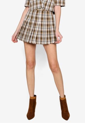 Hopeshow brown High Waist Checkered Pleated Mini Skirt DB3E3AAF6BE61FGS_1