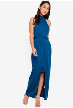 79d695cbc2d6 ZALORA blue EVENING Halter Neck Split Detail Maxi Dress ED634AA808A430GS_1
