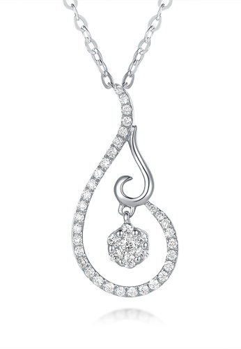 Prince Jewellery And Watch white and silver and gold 18K White Gold Diamond Drop Pendent 407E8AC21F0114GS_1