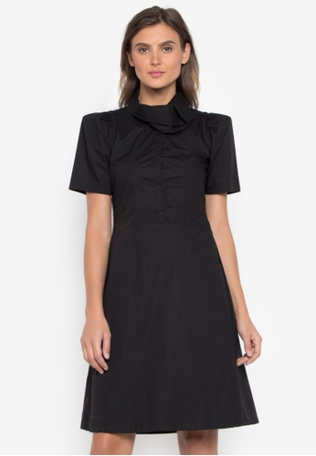 CANVAS black Dress Faith Exaggerated Neck FC7F9AABAFF97EGS_1