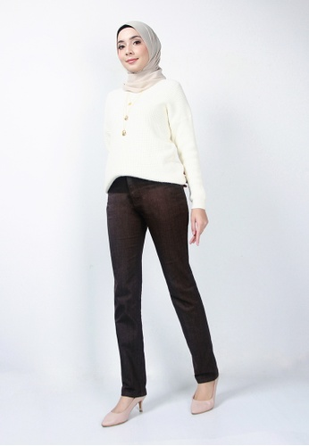 Ladies Jeans brown Soft Cotton Trousers 57455AA07D650EGS_1