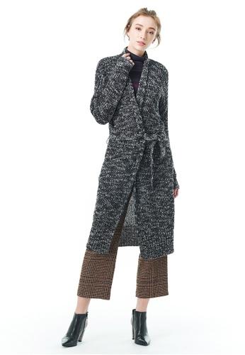 Sisley black Long Cardigan with Belt 17610AA414B020GS_1